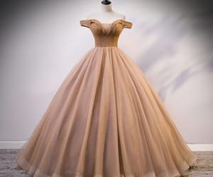 beading, gold dress, and long dress image