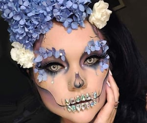 flowers, girl, and make up image