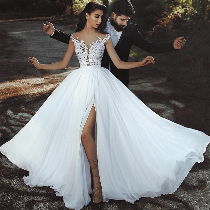 Chiffon Beach Wedding Dresses 2020 Cheap Lace Appliqua C White Bridal Dresses Wedding Gown Robe De Mariee,Summer Casual Beach Wedding Dresses