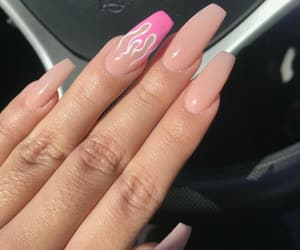 flame, pink, and pink nails image