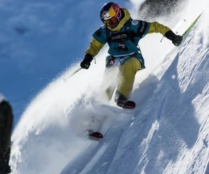 alpine, powder, and skier image