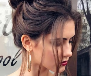 brown, updo, and voluminous image