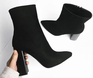 black and white, shoes fashion, and boots heels image