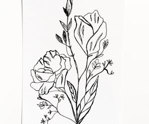 art, drawing, and floral image