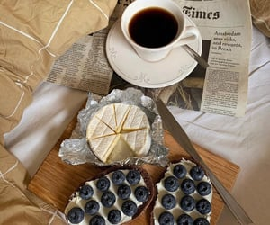 blueberries, bread, and cheese image