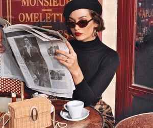 coffee, girl, and newspaper image