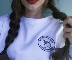 girl, braid, and red lips image