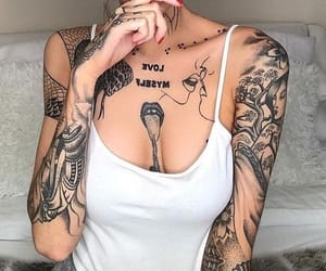 tattoo, girl, and photo image