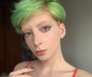 green, green hair, and hairstyle image