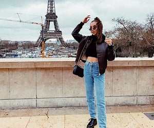 eiffel tower, jeans, and outfit image