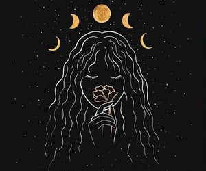 girl, moon, and flowers image