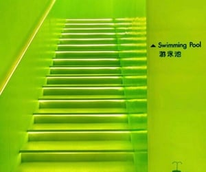 green, lime, and stairs image