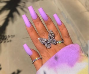 nails, butterfly, and rings image