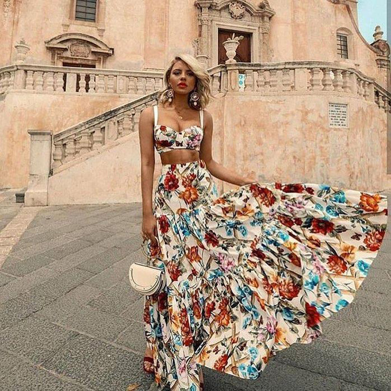 Bellflower Floral Summer Maxi Dress Women Sleeveless ...
