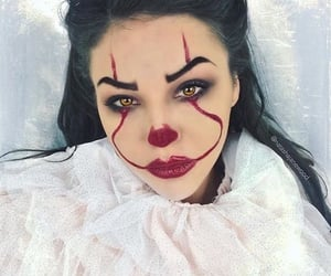 brunette, clown, and Halloween image