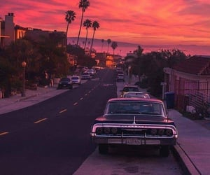 sunset, car, and travel image