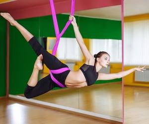 yoga poses, yoga video, and aerial yoga image