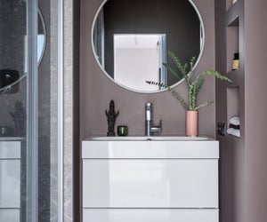 bathroom, interior, and mirror image