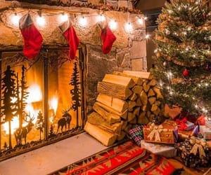 christmas, fireplace, and lights image