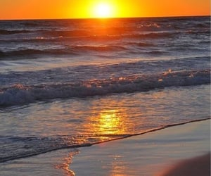 sunset, water, and beach image