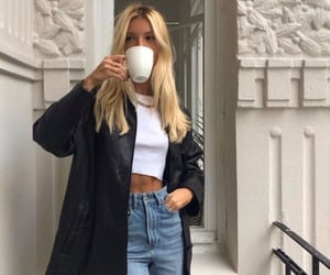 blond, jeans, and coffe y mornig image