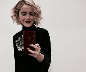 black clothes, lipstick, and sabrina spellman image