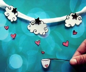 clouds, heart, and stars image