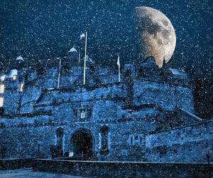 edinburgh castle, snowy night, and scodland image