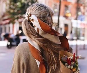 beauty, flowers, and hairscarf image
