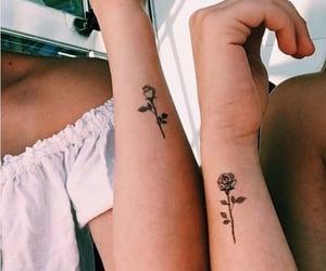 girl, rose, and tatoo image