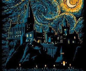 harry potter, hogwarts, and van gogh image
