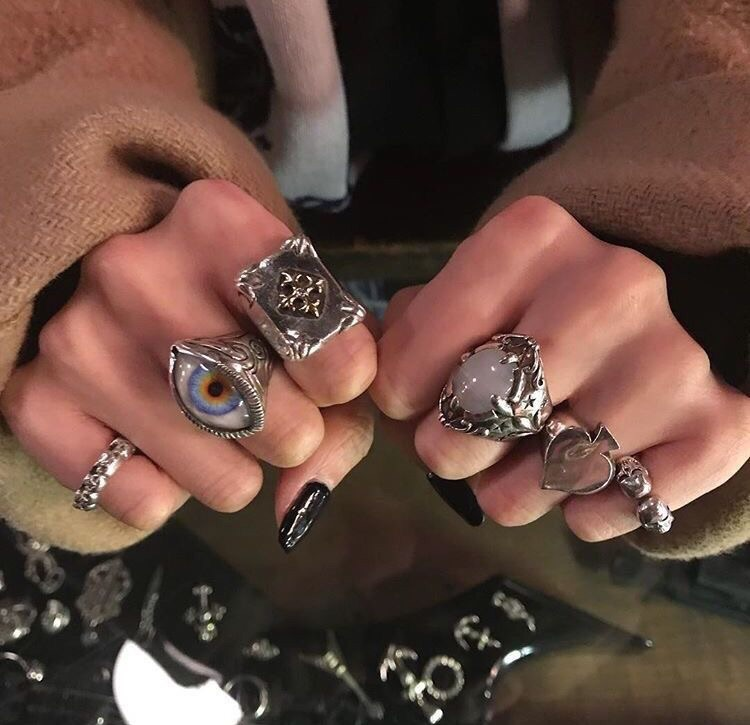 black, goth, and ring image