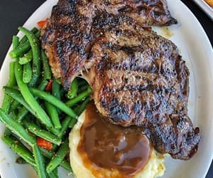 food, lunch, and steak image