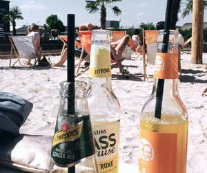 beach, summer, and drinks image