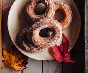 food, apple, and doughnuts image