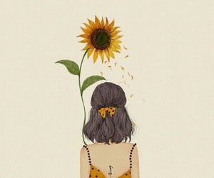 drawing, girl, and sunflower image
