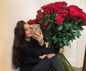 beauty, couple, and flowers image