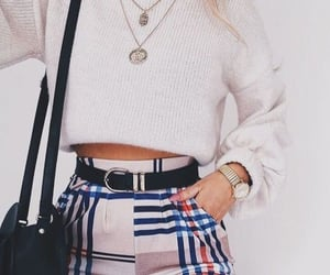 bag, blue, and necklace image