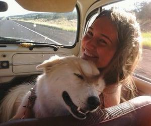 dog, girl, and travel image