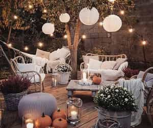 home, light, and pumpkin image