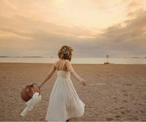 beach, beige, and dress image