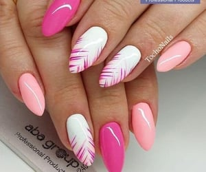 manicure, pink nails, and nailpolish image