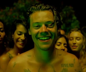 Harry Styles, smile, and lights up image