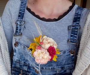 bouquet, flowers, and dungarees image