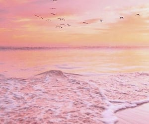beach, pink, and wallpaper image