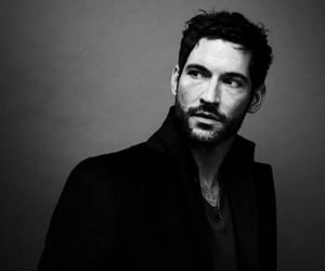 lucifer, tom ellis, and black and white image