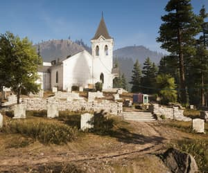 church, trees, and white image