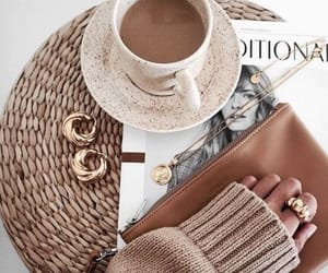 fashion, coffee, and gold image