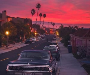 car, sunset, and sky image
