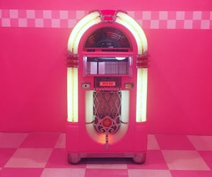 jukebox, pink, and retro image